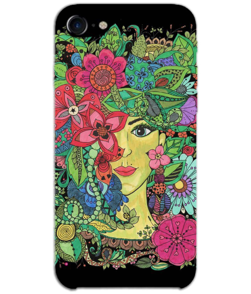Apple Iphone 8 Printed Cover By Jaz Deals Face Behind Flowers Print Hard Cover