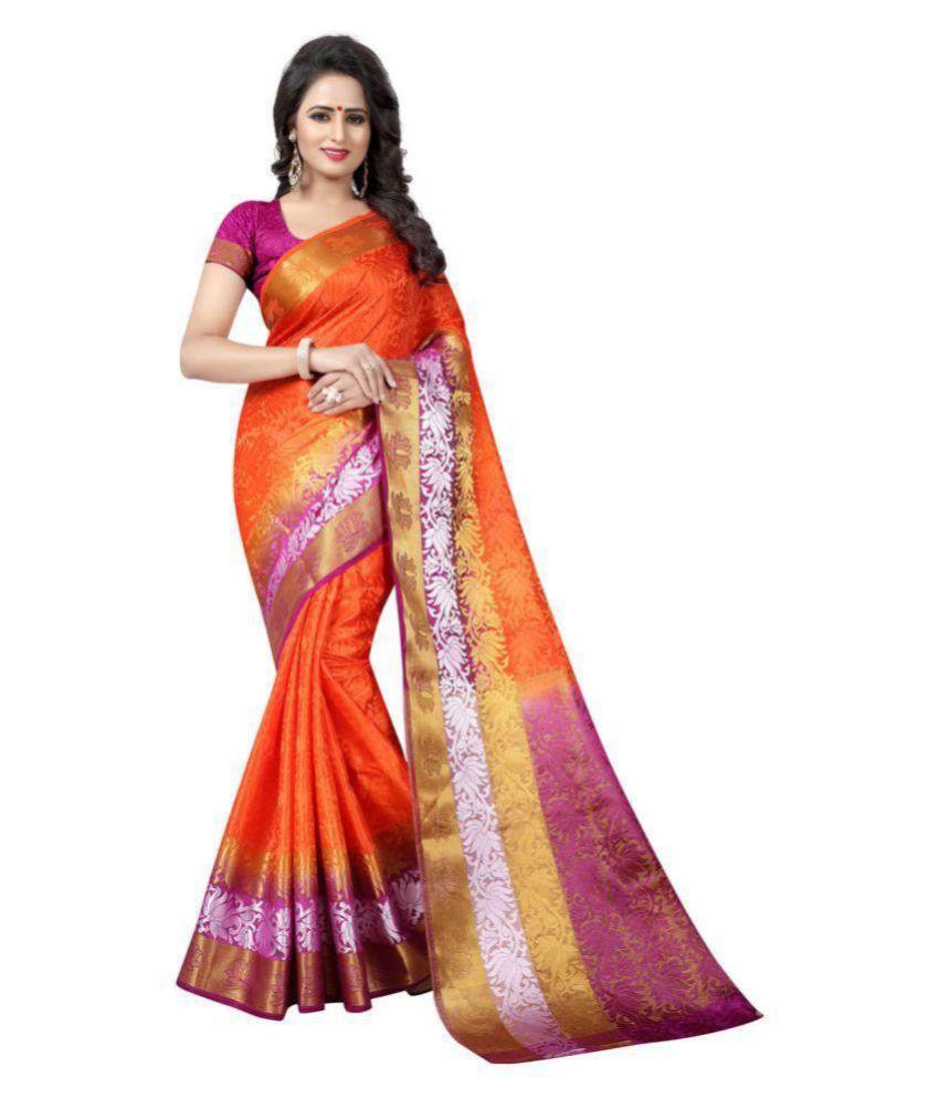 ethnic diwa Orange Cotton Silk Saree