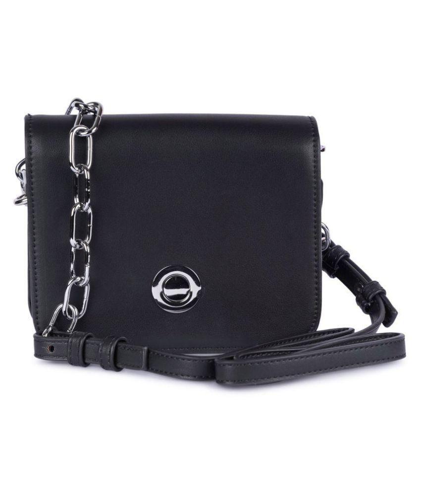 Prink Black Faux Leather Sling Bag
