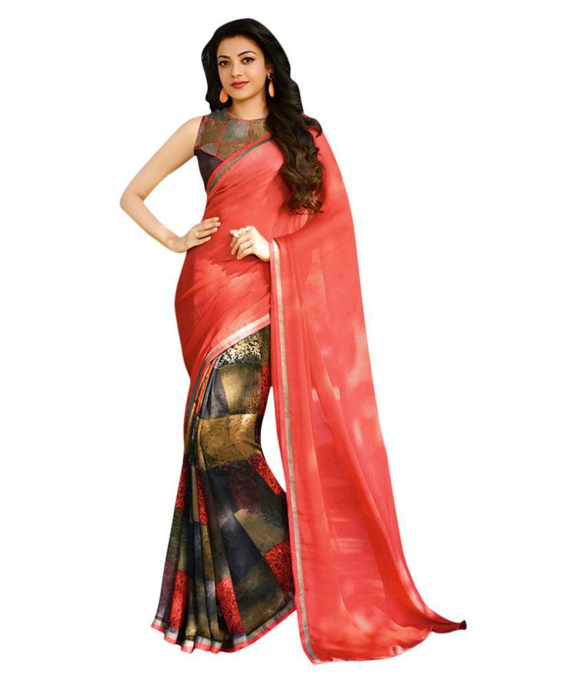 Shaily Red and Brown Jacquard Saree