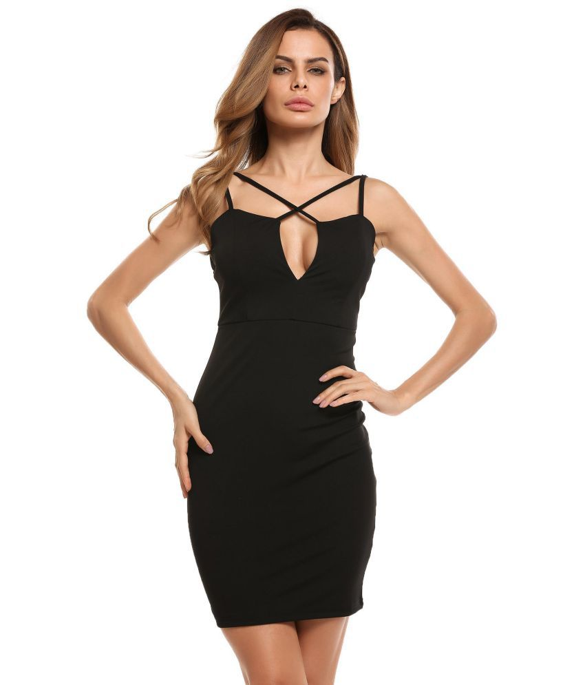 Generic Polyester black Pencil Dress