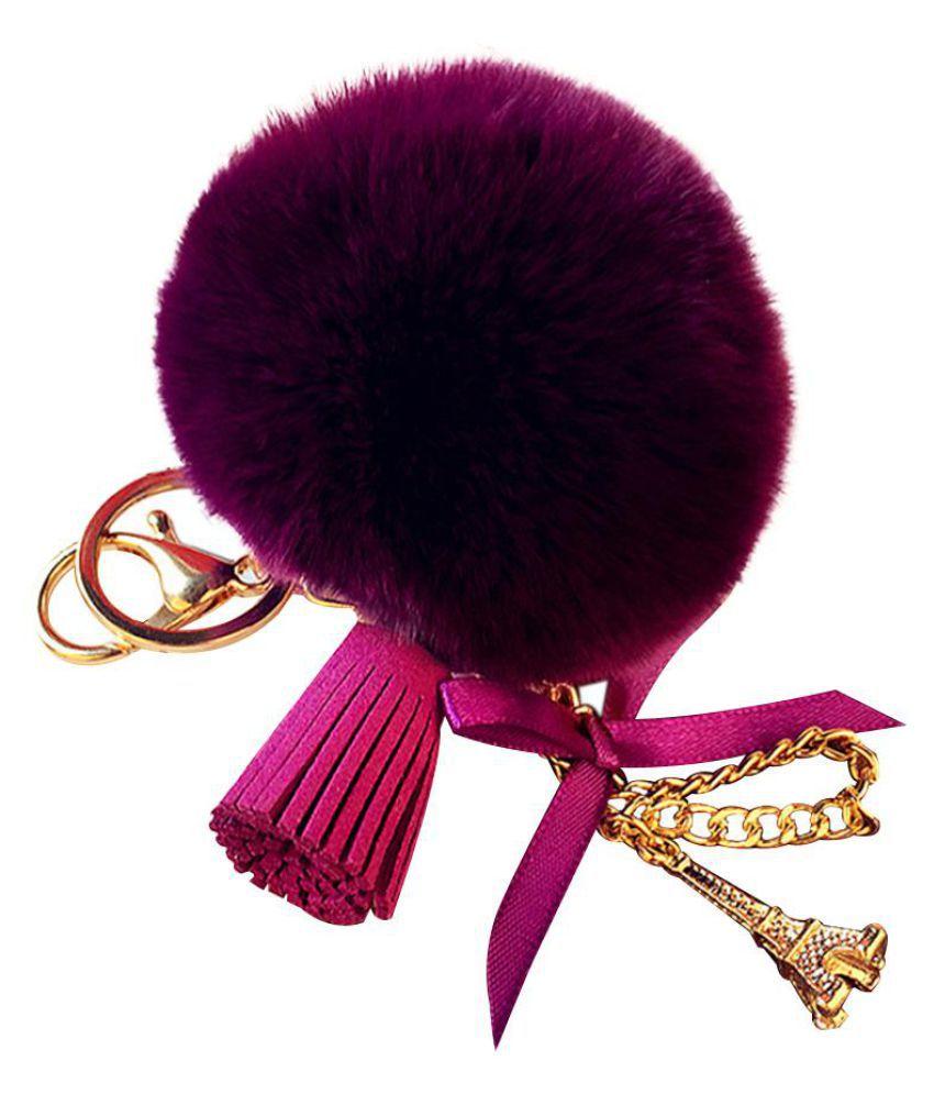 Chic Eiffel Tower Faux Rex Rabbit Fur Ball Tassel Key Chain Bag Pendant Hangings