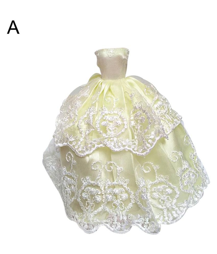 Elegant Doll Accessories Clothes Evening Lace Wedding Dress for Barbie Doll