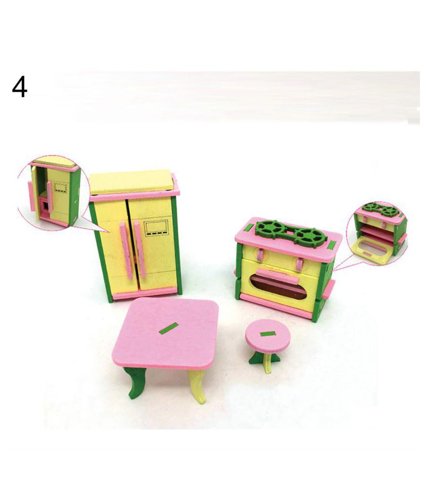 4Pcs Miniature Kid Kitchen Play House Toys Set Child Wooden Block DIY Puzzle Toy