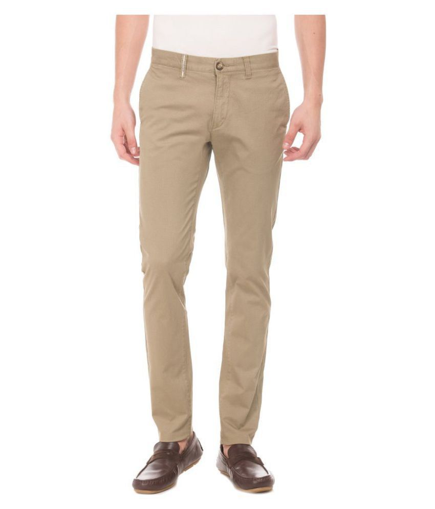 U.S. Polo Assn. Beige Tapered -Fit Flat Trousers