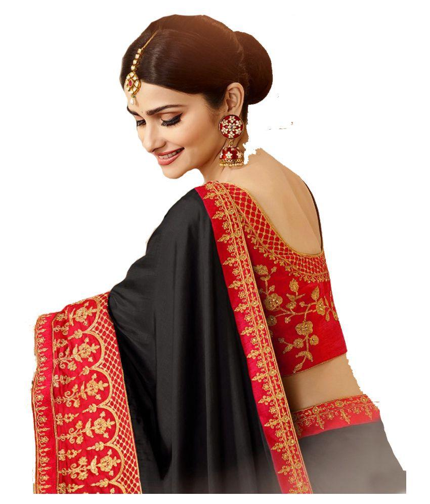 EthnicSaree Red and Black Paper Silk Saree