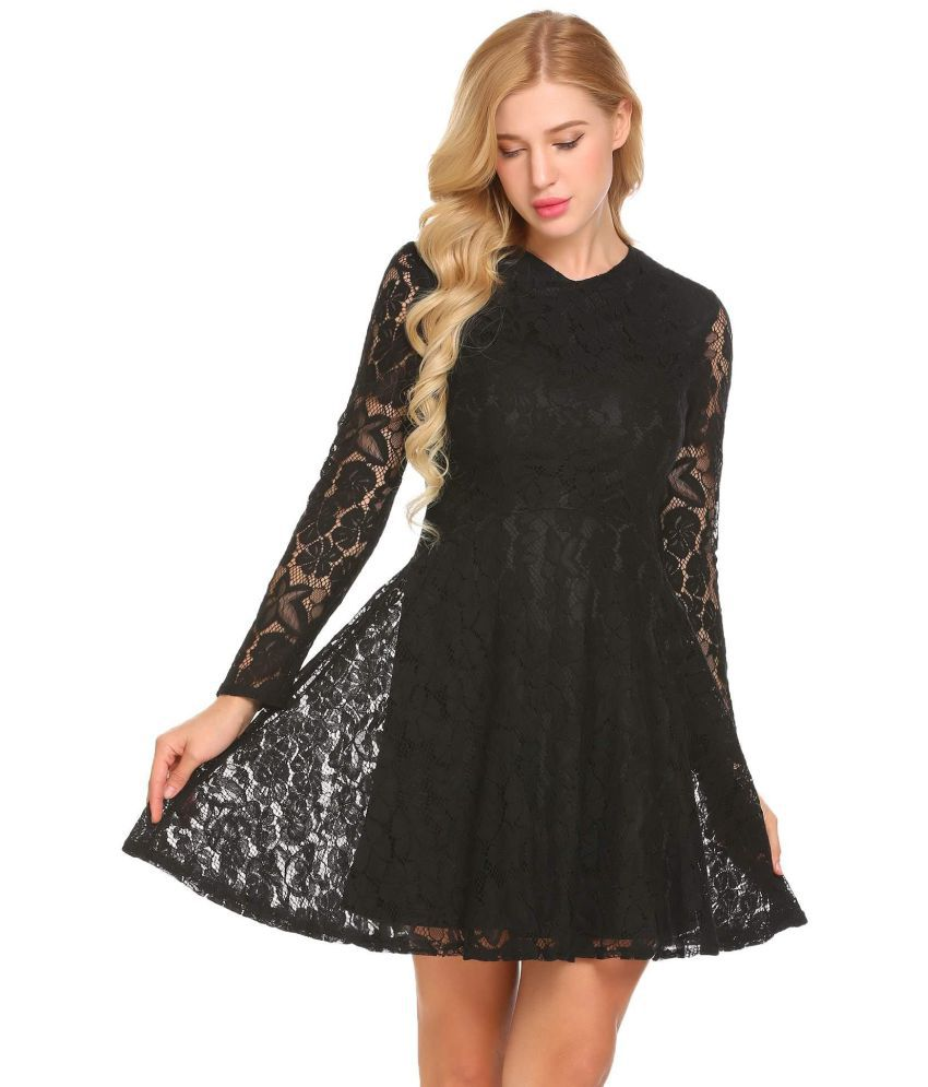Generic Lace black Asymmetric dress