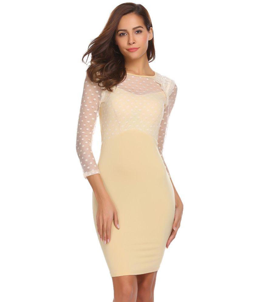 Generic Polyester beige Pencil Dress