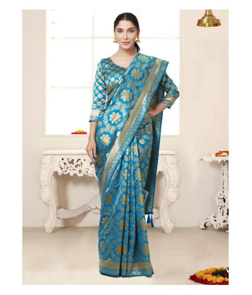 f746fef3b1 SareeShop Designer SareeS Green and Blue Silk Saree - Buy SareeShop Designer  SareeS Green and Blue Silk Saree Online at Low Price - Snapdeal.com