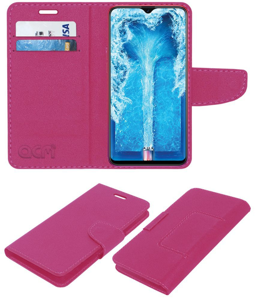 hot sales 01b16 0d219 Oppo F9 Pro Flip Cover by ACM - Pink Wallet Case,Can store 2 Card/Cash