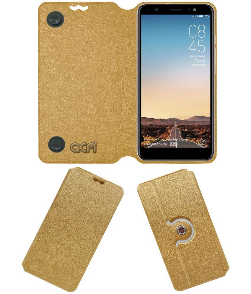 separation shoes 7dbb3 d7fbe Tecno Camon i Sky Flip Cover by ACM - Golden Dual Side Stand