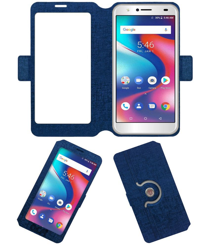 Yuho O2 Pro Flip Cover by ACM - Blue Dual Side Stand