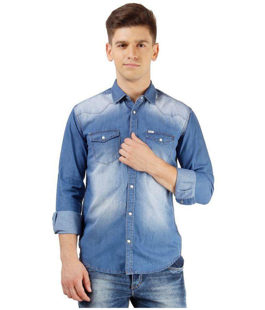 7a187c596b8 Light Blue Washed Slim Fit Denim Shirt