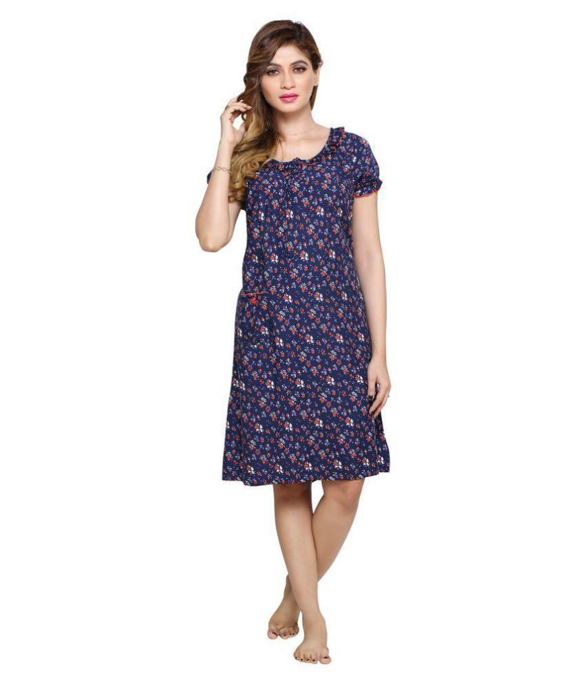 3bf17231051 pdpm Rayon Night Dress - Blue