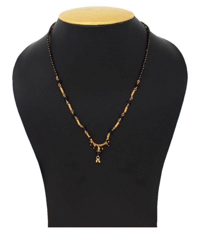 IMC DEALS Indian Mangalsutra 22K Gold Plated Black Beads 18
