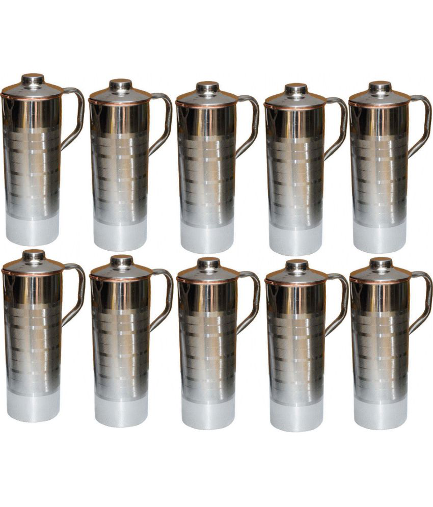 a3820836fbe MAHISON LIFESTYLE FRIDGE BOTTLE Silver 10000 ml Steel Copper Fridge Bottle  Set of 10  Buy Online at Best Price in India - Snapdeal