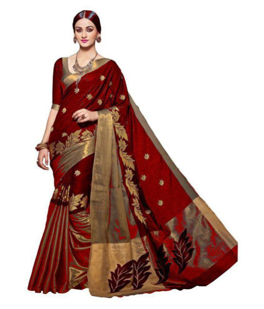 6b30abafd3 Celeb Styles Brown and Red Cotton Saree - Buy Celeb Styles Brown and Red  Cotton Saree Online at Low Price - Snapdeal.com