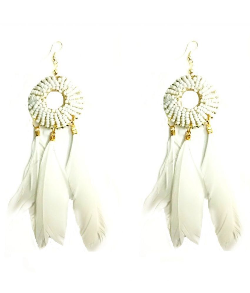 Turqueesa Beaded Round Style Long Feather Tassel hanging - White