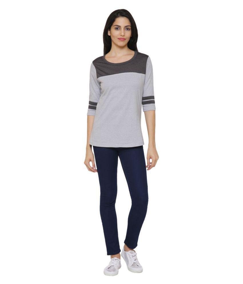 Maggivox Cotton Regular Tops - Grey