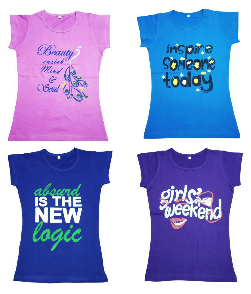 Diaz® Cotton Printed T-Shirt For Girls Pack Of 4