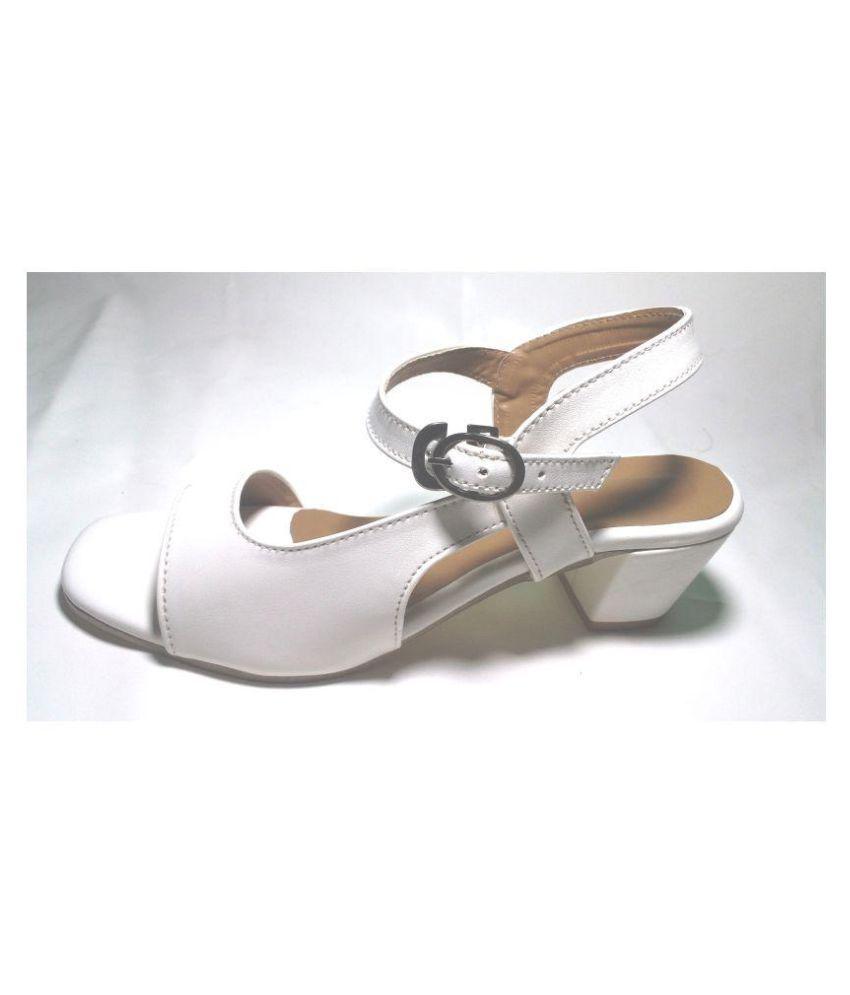 Faridan Style Enterprises White Block Heels