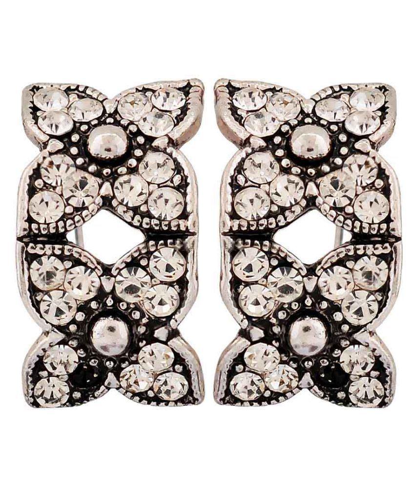 Maayra Twin Flowers Earrings Silver Clip On Dailywear Jewellery