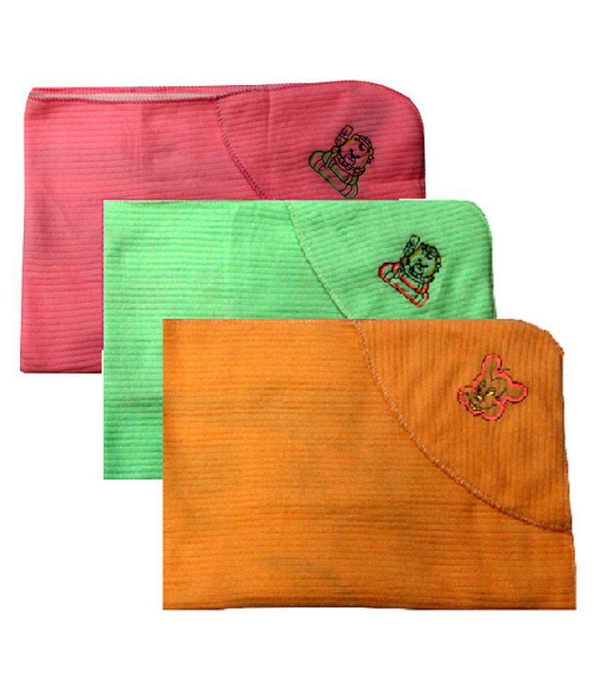 Rainbow Bazzarr Multi-Colour Flannel Baby Wrap cum blanket ( 85 cm × 62 cm - 3 pcs)