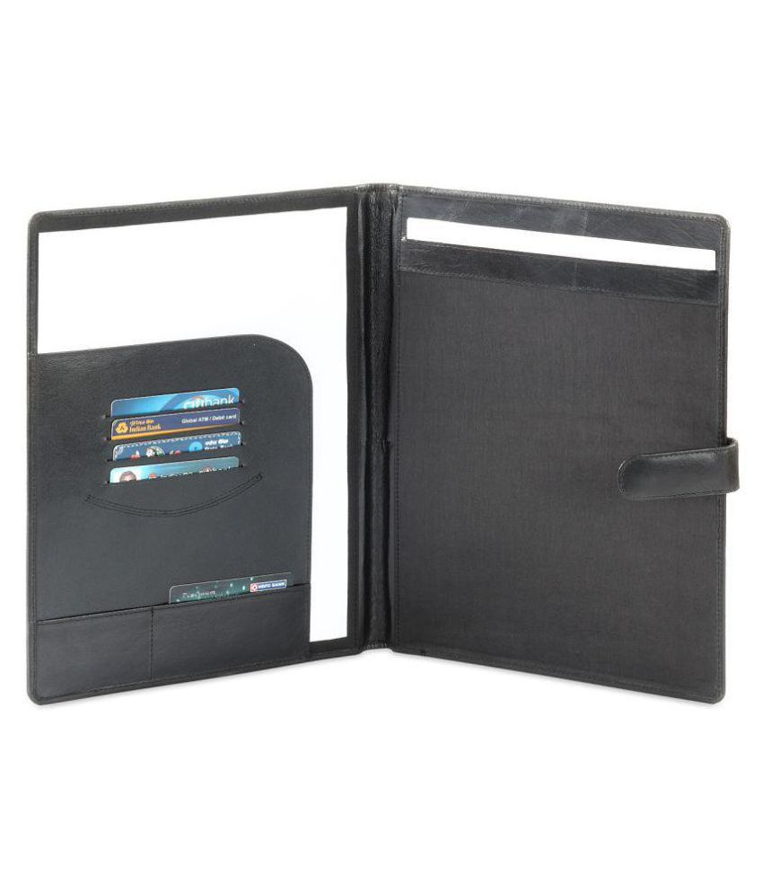 Hide&sleek Premium Genuine Leather Conference Folder With Multi Pockets - Black