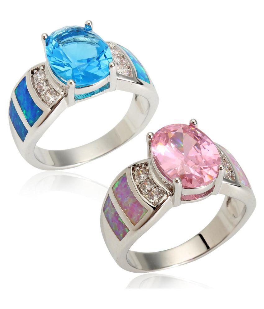 74efffe1e4a43 Size 6/7/8/9 Jewelry CZ Women Wedding Pink Blue Gem Opal Rings For ...