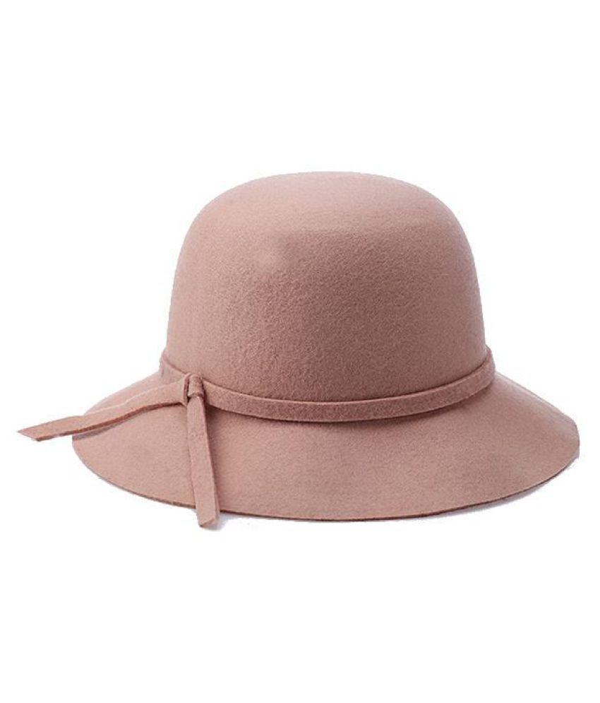 ... Women Winter Elegant Wool Bucket Hat Bow Tie Wide Brim Solid Floppy Hat  ... ddb4aad60ef