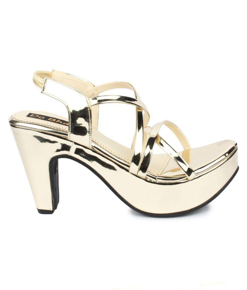 07ae50daf8e Do Bhai Gold Block Heels Price in India- Buy Do Bhai Gold Block ...