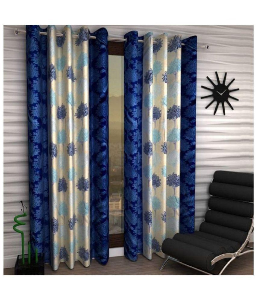 Geonature Set of 4 Window Semi-Transparent Eyelet Polyester Curtains Blue