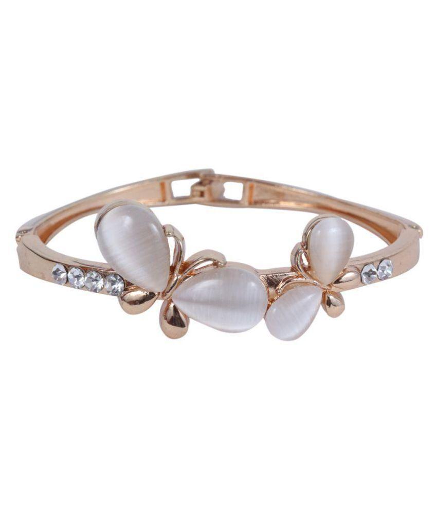 Ratnatraya Stylish White Stone Golden Bracelet | Party & Casual Wear Kada Bangle Gift for Women Girls