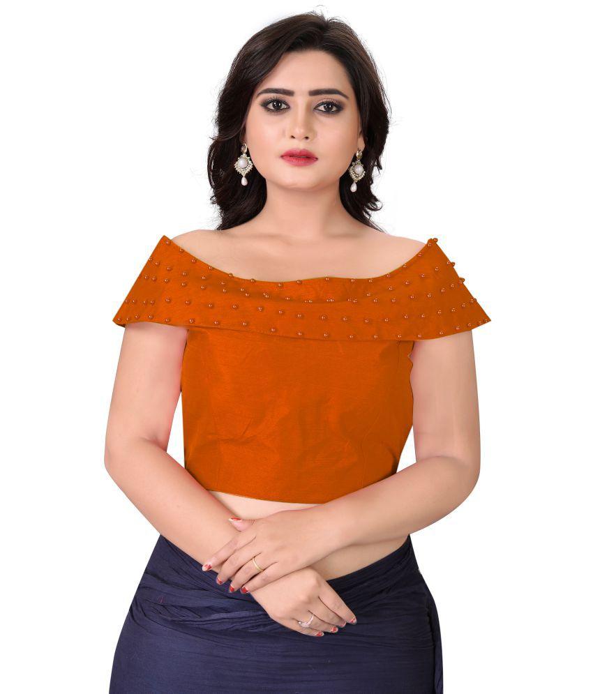 FashionUma orange Silk Readymade with Pad Blouse
