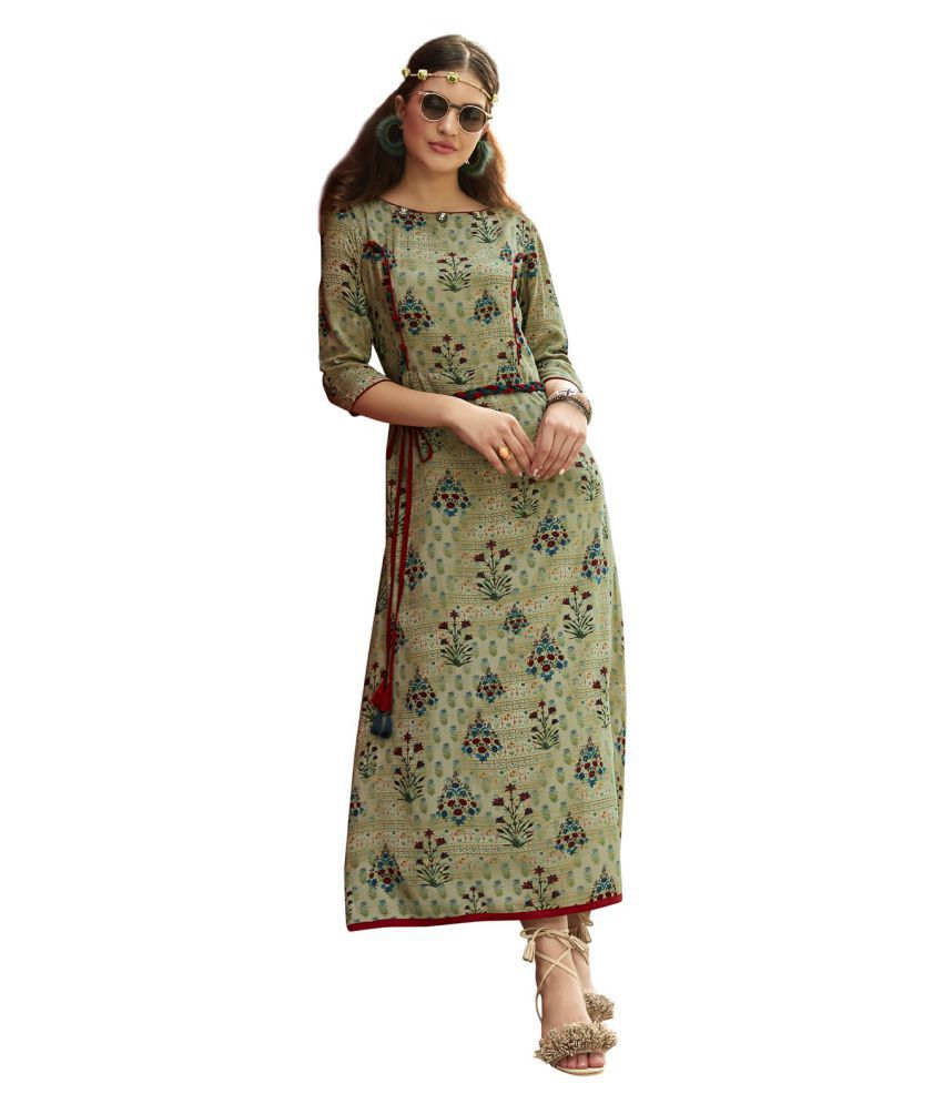 Urban India Green Rayon Straight Kurti