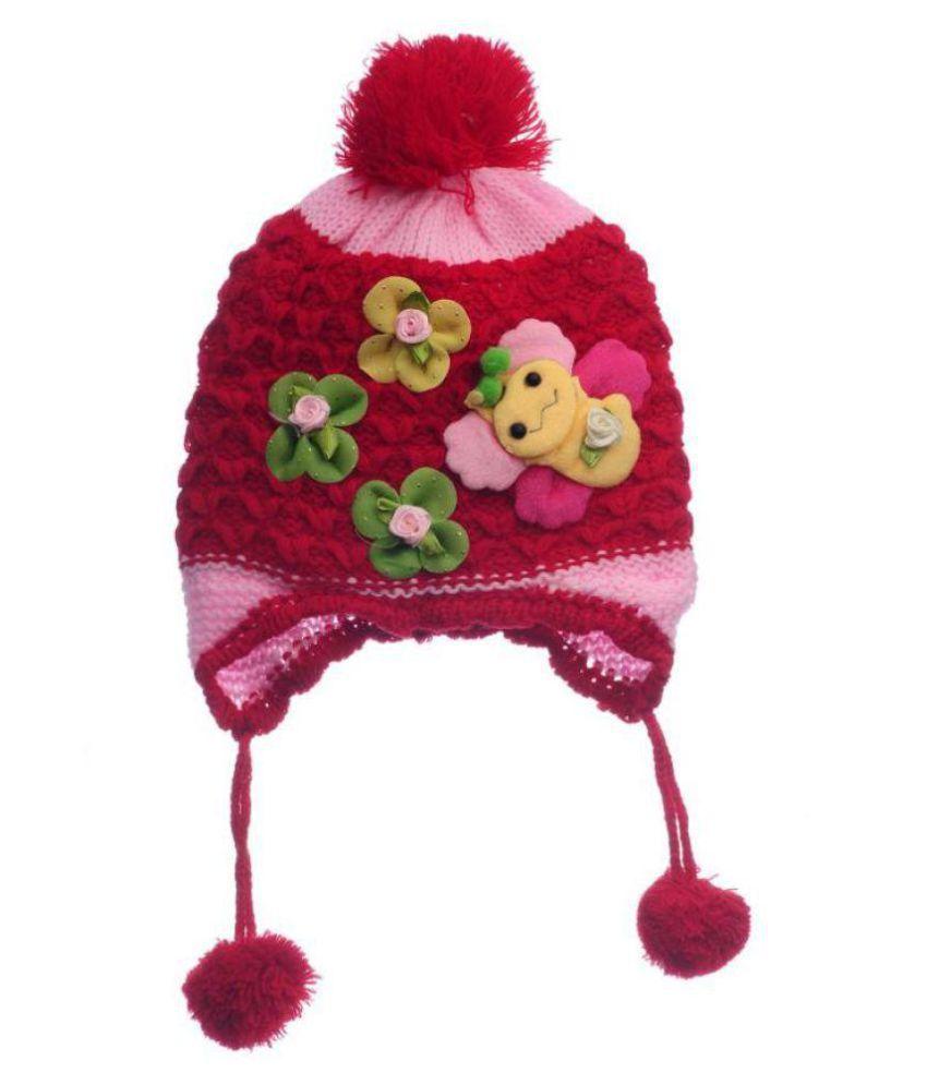 Kids Butterfly Woollen cap- Multicolor