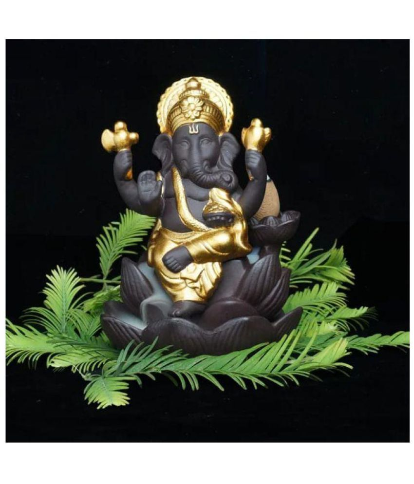 Angels Store Lord Ganesha Golden Smoke Backflow Cone Incense Holder Decorative Showpiece With 5 Free Smoke Scented Cone