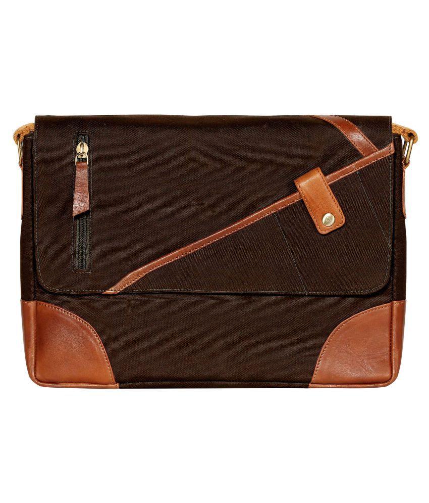 Scharf ED FRANK Brown Canvas Office Messenger Bag