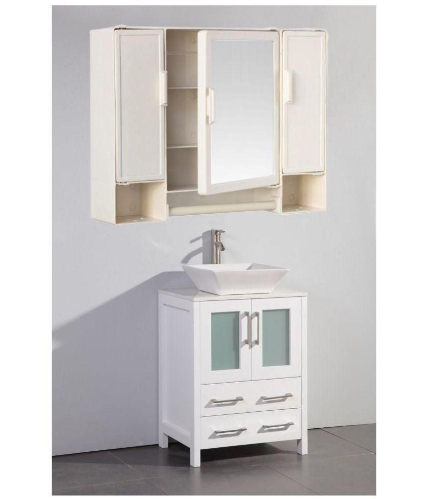 Buy Zahab Pulse Ivory Three Door Plastic Bathroom Cabinet Online At