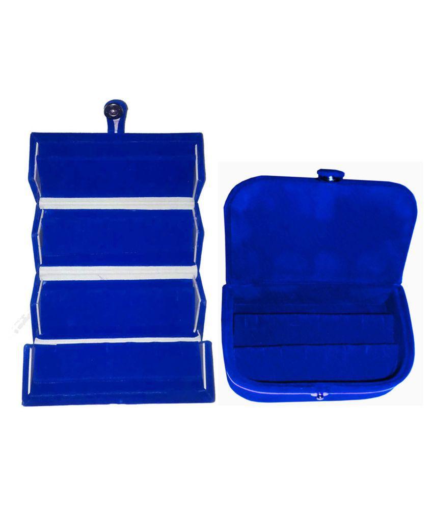 Shivansh Traders Combo 1 pc blue earring folder and 1 pc blue ear ring box vanity case