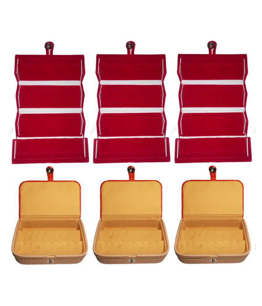 Shivansh Traders Combo 3 pc red earring folder and 3 pc ear ring box vanity case