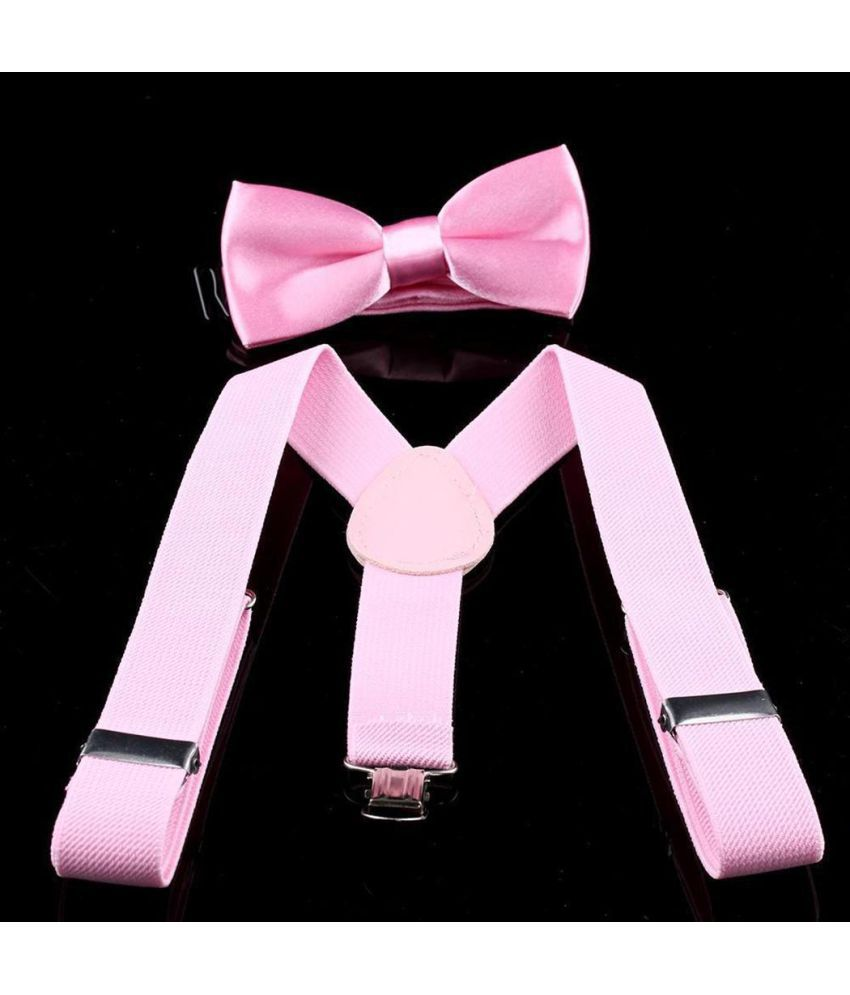 6534368be2ae Kids Unisex Solid 3 Clip-on Elastic Adjustable Suspender Bow Tie Matching  Set ...