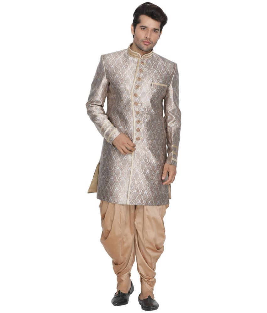 9fe4f0ecd2 Vastramay Gold Cotton Blend Sherwani - Buy Vastramay Gold Cotton Blend Sherwani  Online at Low Price in India - Snapdeal
