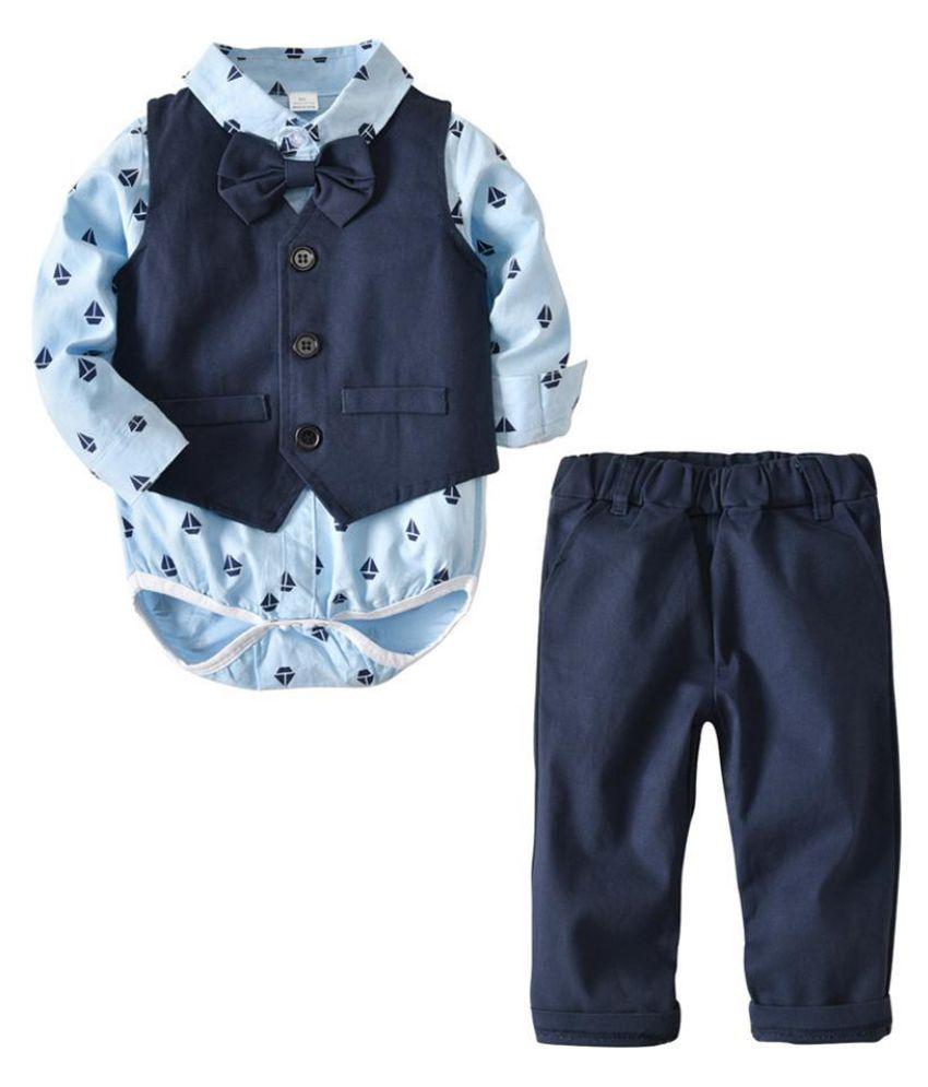 Cute Baby Boy Kids Sleeve Shirt Romper Waistcoat Long Paints Bow Tie Clothes Set