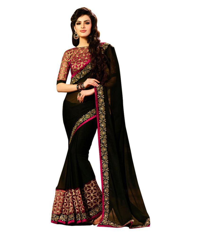 Aafiya Creations Black Georgette Saree