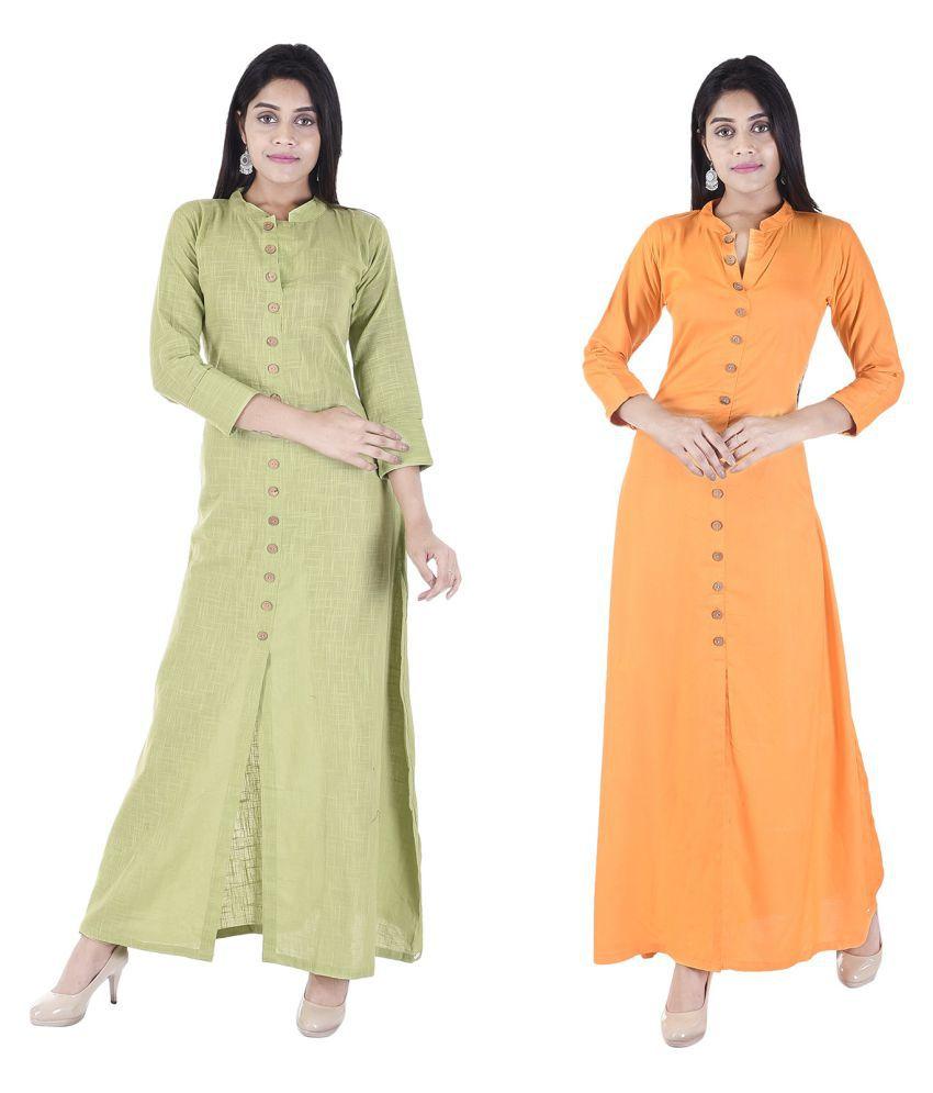 Desier Multicoloured Cotton Silk Anarkali Kurti