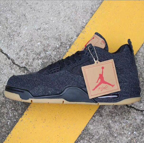 new products ba5af d343d Nike AIR Jordan 4 Retro Levis Black Black Basketball Shoes ...