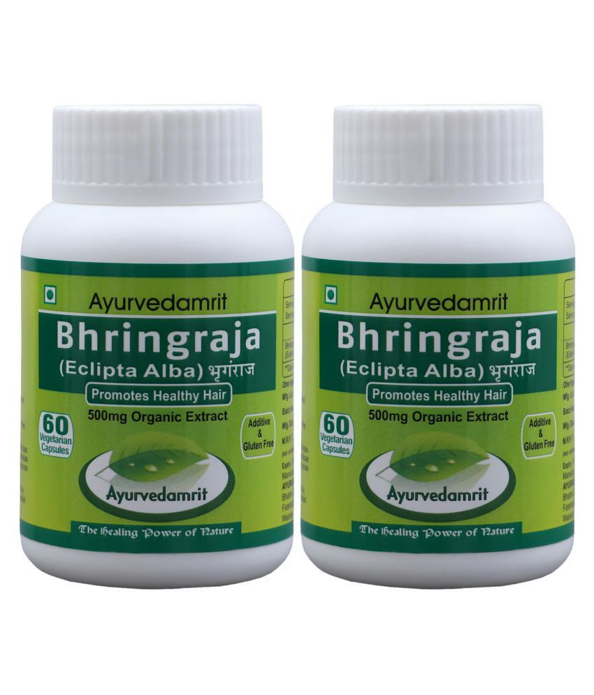 Ayurvedamrit Bhringraja/Eclipta Alba (Hair Tonic)* 60 Veg. Caps. | Pack Of 2 | Each Capsule 500mg. Approx.
