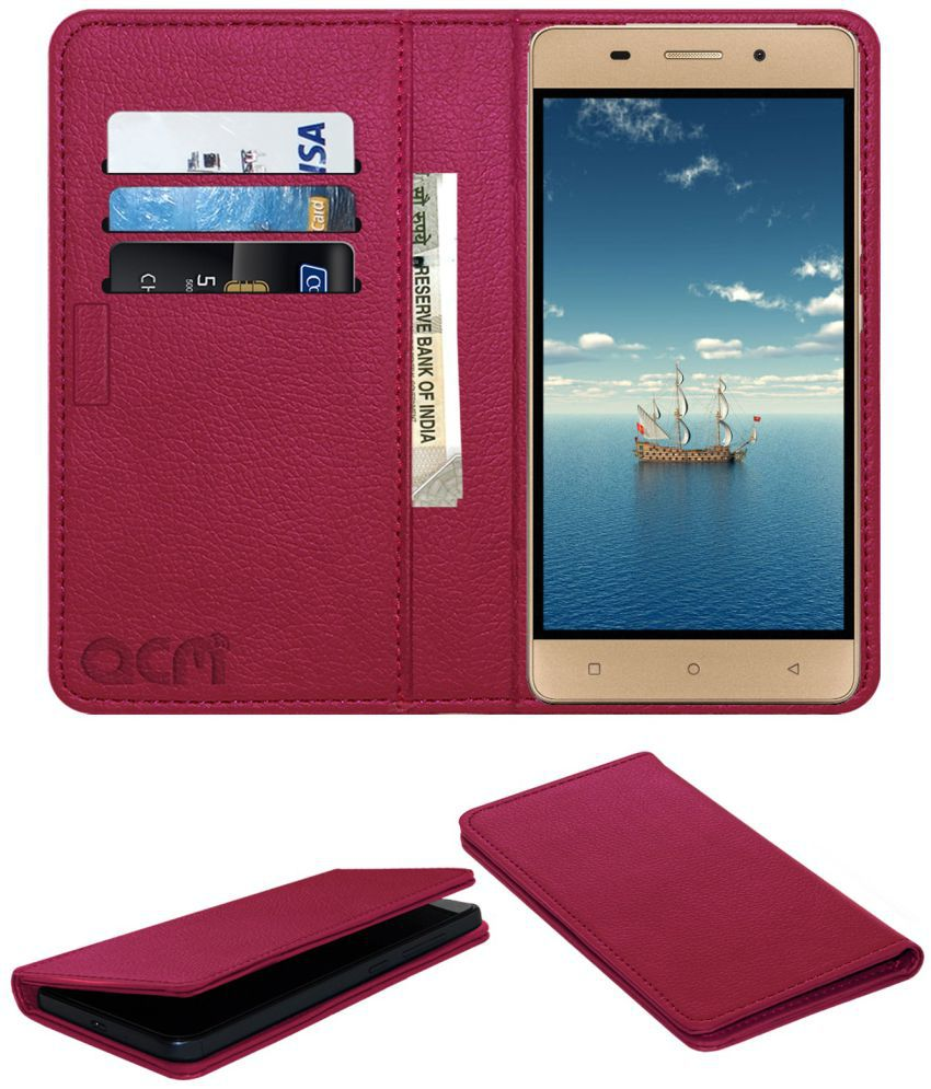 Gionee Marathon M5l Flip Cover by ACM - Pink Wallet Case,Can store 3 Card/Cash