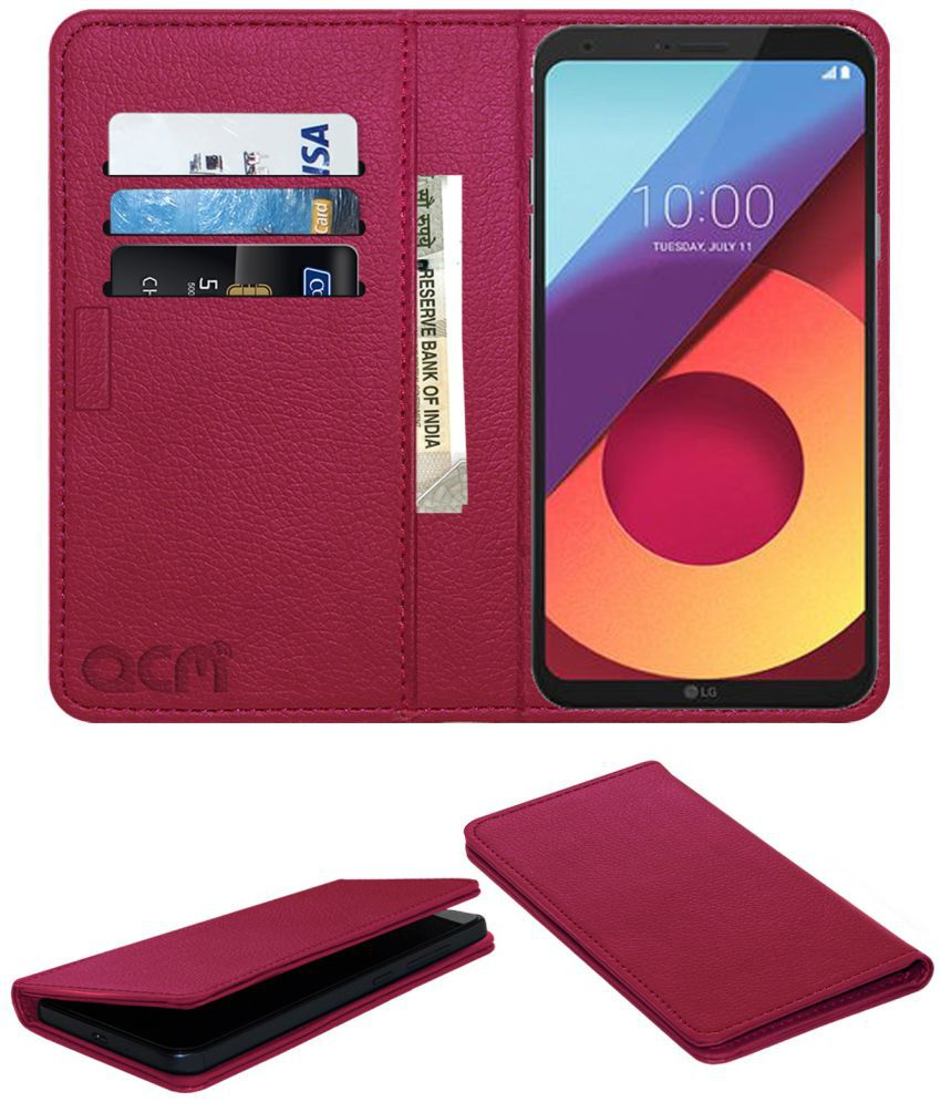 best sneakers cf2ee 7105f LG Q6 Flip Cover by ACM - Pink Wallet Case,Can store 3 Card/Cash